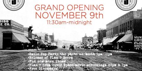 Plan 9 Grand Opening November 9th, 2013 banner
