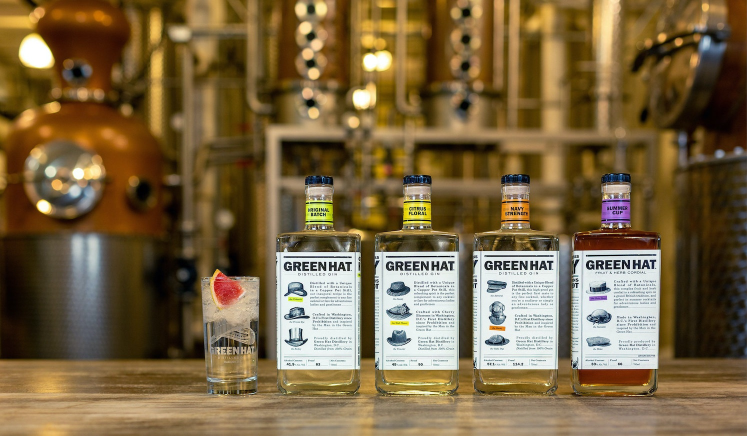 for bottles of Green Hat Gin